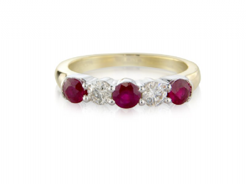 Claw Set Yellow Gold Ruby And Diamond Eternity Ring